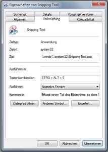 Tastenkombination für Snipping-Tool festlegen