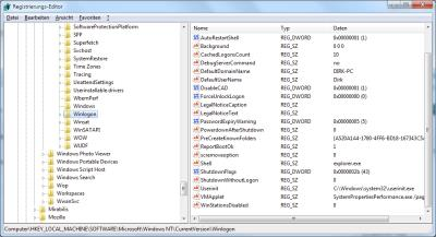 Windows Autologin in der Registry einrichten