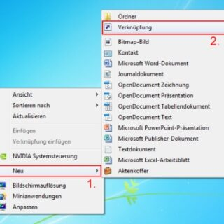 Windows 7: Desktop sperren per Verknüpfung
