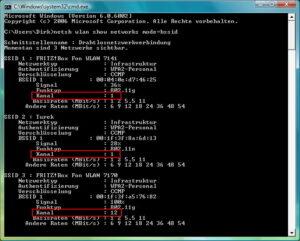WLAN-Funkkanäle in der Umgebung unter Windows anzeigen