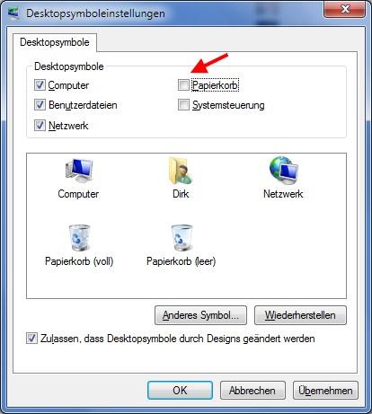 Papierkorb wiederherstellen auf dem Windows 7 Desktop