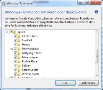 Vorinstallierte Spiele aktivieren oder deaktivieren bei Windows 7