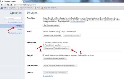 Keine Passwörter speichern im Browser Google Chome