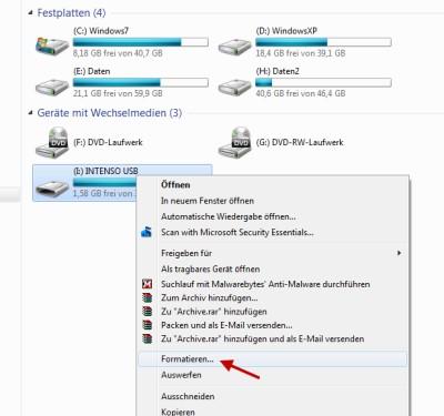 Festplatte oder USB-Stick mit FAT32 formatieren unter Windows 7