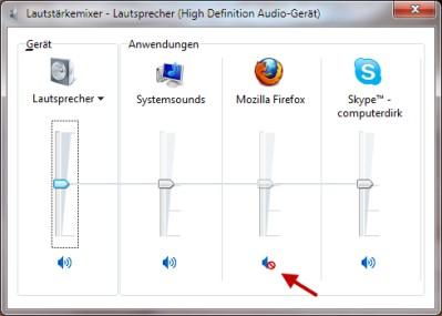 Sound deaktiviert im Mixer für bestimmtes Programm