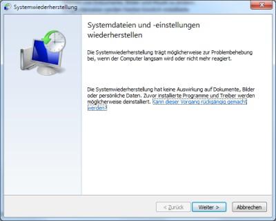 Windows 7 Wiederherstellungsvorgang gestartet