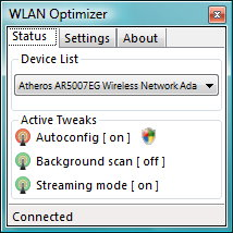 WLAN Optimizer Status