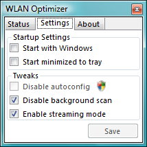 WLAN Optimizer Settings (Einstellungen)