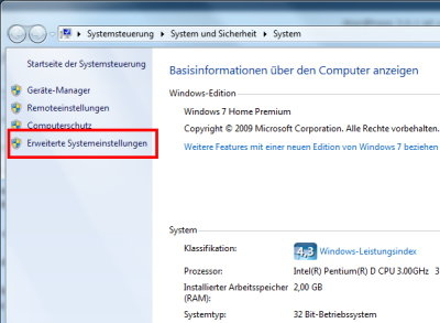 Windows 7 Auslagerungsdatei manuell einstellen