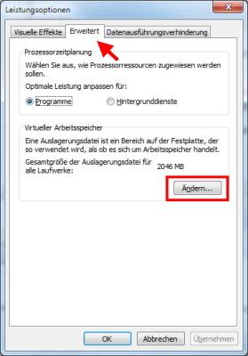 Windows 7 Leistungsoptionen virtueller Arbeitsspeicher