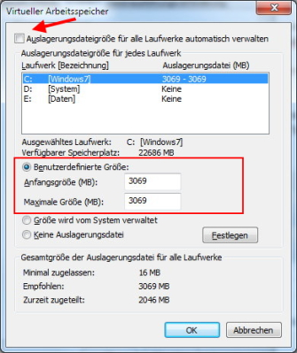 Windows 7 Größe Auslagerungsdatei optimal einstellen