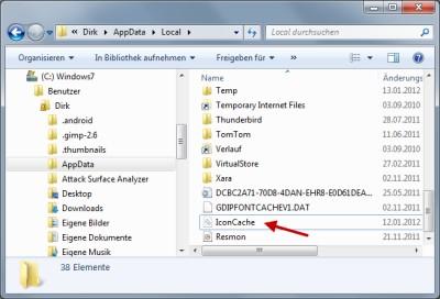 Darstellung der Icons und Symbole bei Windows 7 reparieren