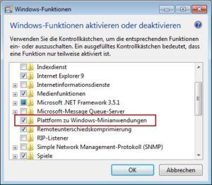Windows 7 Minianwendungen deaktivieren
