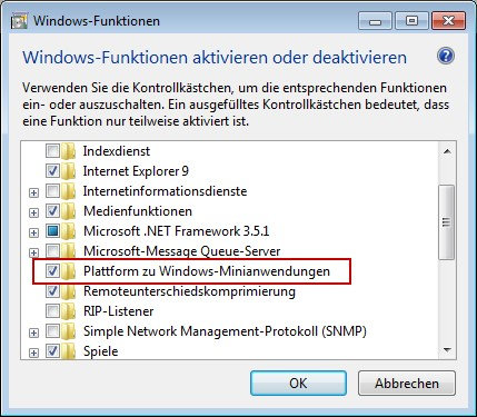 Windows 7 Minianwendungen deaktivieren