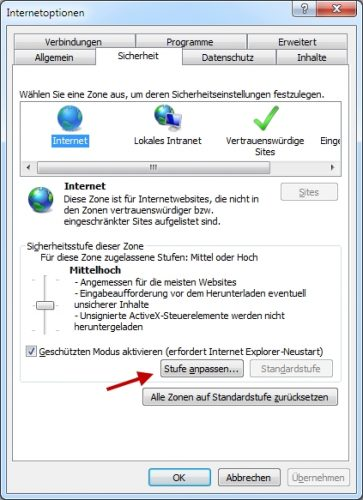 Einstellungen zur Sicherheit im Internet Explorer