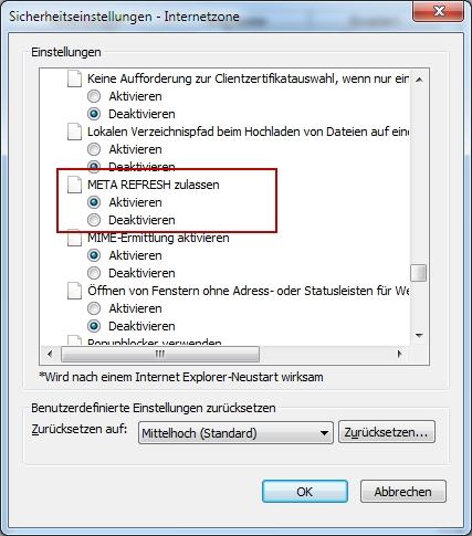 META Refresh im Internet Explorer deaktivieren