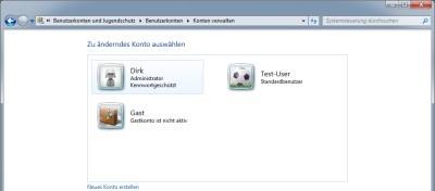 verschiedene Benutzerkonten bei Windows 7