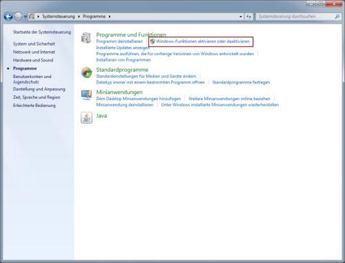 Windows Funktionen aktivieren und deaktivieren