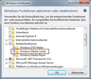 Media Center deaktivieren in Windows 7