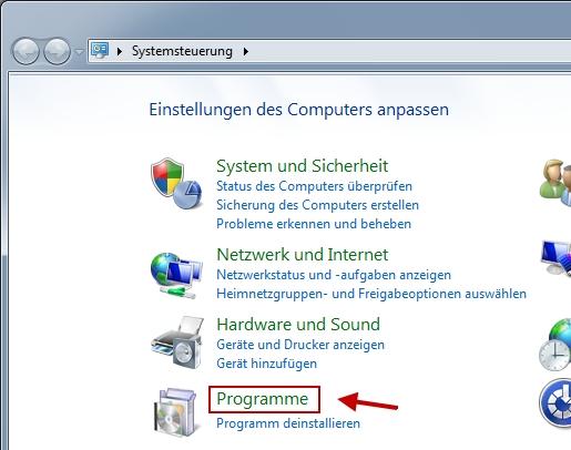 Windows 7 Systemsteuerung öffnen