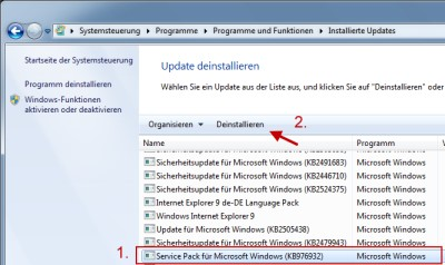 Windows 7 Service-Pack 1 deinstallieren