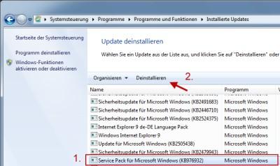 Anleitung: Service-Pack 1 von Windows 7 wieder deinstallieren