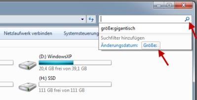 Windows Explorer mit Suchmaske