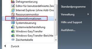 Microsoft Systeminfo starten über das Startmenü