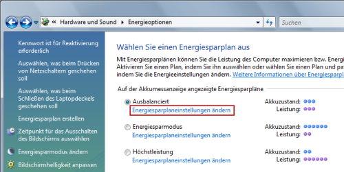 Energieoptionen in der Systemsteuerung von Windows