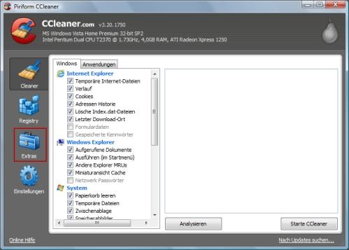 CCleaner Einträge im Kontextmenü bearbeiten