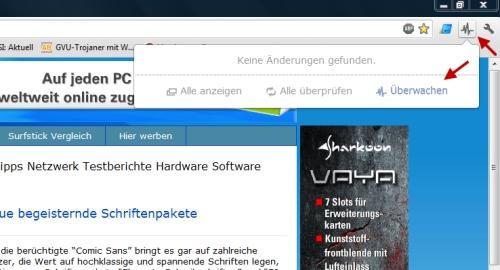 Google Chrome - mit Page Monitor Webseiten auf Veränderungen überwachen