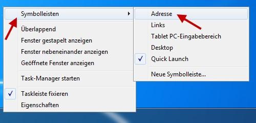 Adressleiste in der Taskleiste aktivieren und so schneller Suchen und Webseiten aufrufen
