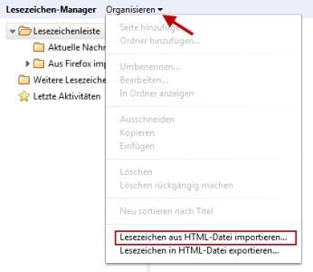 Chrome Lesezeichen aus HTML-Datei importieren