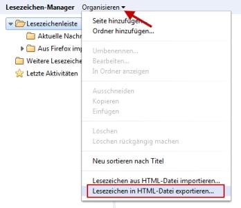 Chrome Lesezeichen als HTML exportieren