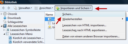 Backup der Lesezeichen im Firefox anlegen