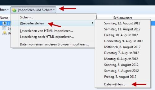 Firefox Lesezeichen Favoriten wiederherstellen