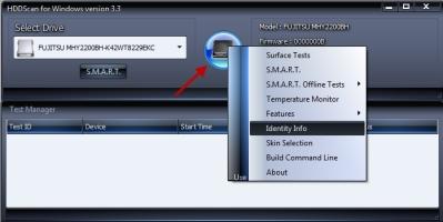 HDDScan Tests und Überwachungen aufrufen