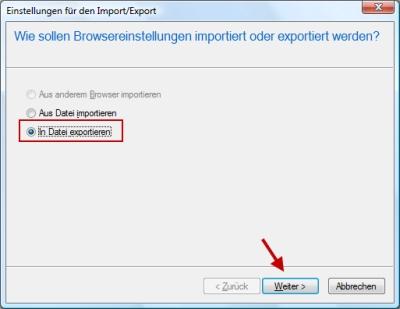 Internet Explorer Importieren und Exportieren von Lesezeichen