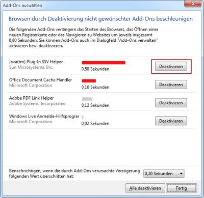 Internet Explorer langsame Add-ons deaktivieren