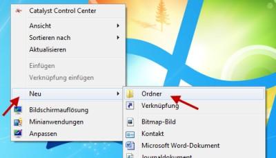 Unsichtbaren Ordner auf dem Dektop von Windows 7 anlegen