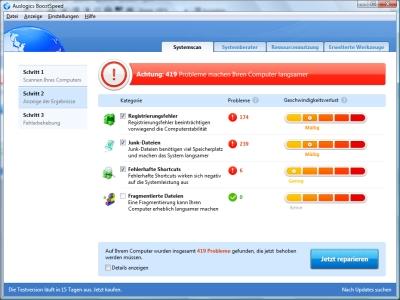 Auslogics BoostSpeed 5 Ergebnis der Überprüfung des Windows-Rechners