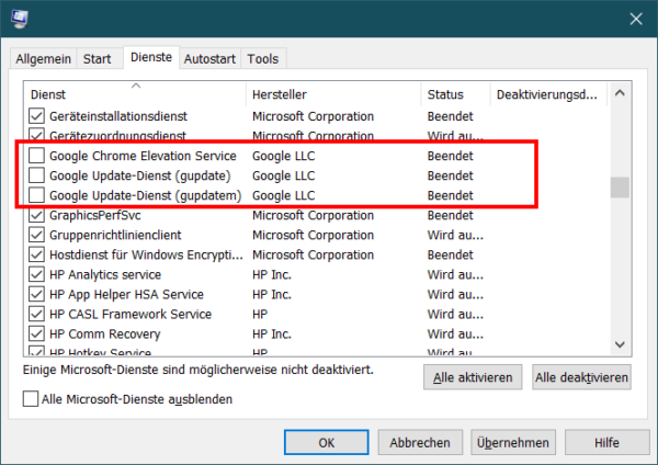 Chrome Updates deaktivieren durch Abschalten der Dienste in msconfig