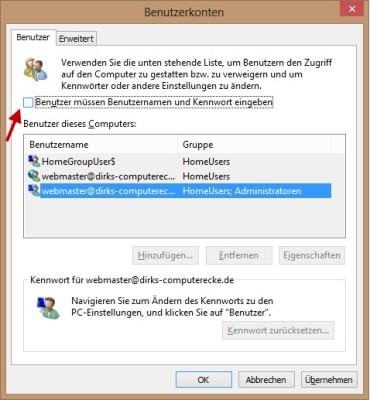 Windows 8 Autologin aktivieren