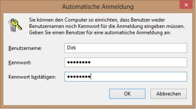 Benutzername und Passwort für Autologin