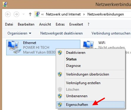 IP-Adresse für eine Netzwerkverbindung festlegen