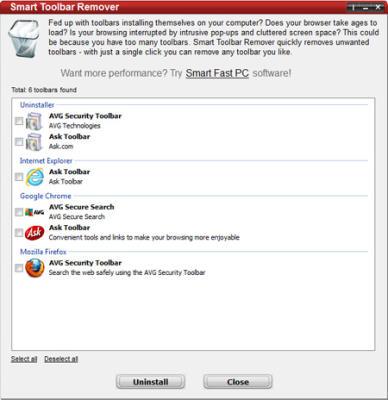 Freeware zum Entfernen lästiger Toolbars im IE, Firefox und Google Chrome