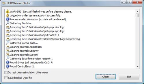USB Oblivion Ergebnis der Simulation