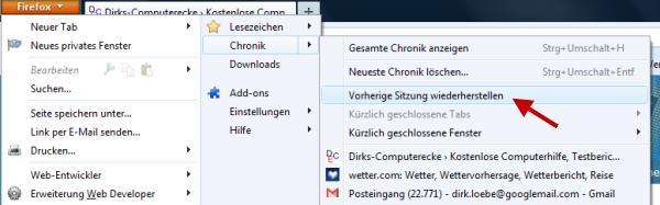 Geschlossene Browserfenster wiederherstellen Firefox