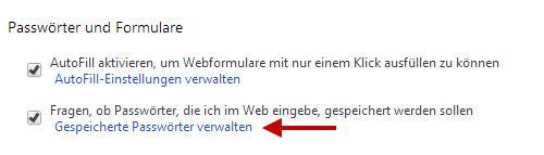 Passwörter verwalten im Google Chrome