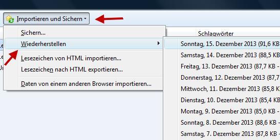 gelöschte Lesezeichen im Firefox wiederherstellen